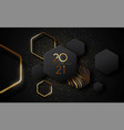 new year 2021 gold black luxury 3d glitter card vector image
