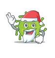santa green bacteria mascot cartoon vector image vector image