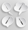 Screwdriver White flat buttons on gray background vector image