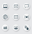 seo icons set with focus group keyword ranking vector image vector image