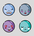 set character emoji faces message emotion vector image vector image