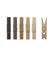 Set of Wood Clothespins Pegs Colored on Background vector image vector image