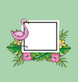 square emblem with flamish and tropical flowers vector image vector image
