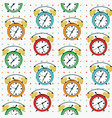twin bell alarm clock seamless pattern vector image vector image