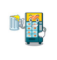 with juice bakery vending machine in a mascot vector image vector image