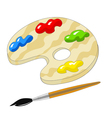 wooden palette with paints and brush vector image