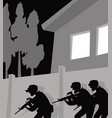 a special police unit is operating swat in action vector image