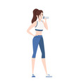 attractive young woman in fitness outwear holding vector image vector image