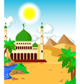 beautiful mosque with desert landscape background vector image