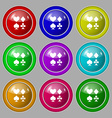 card suit Icon sign symbol on nine round colourful vector image vector image
