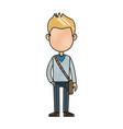 cartoon young boy student avatar vector image vector image
