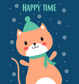 christmas card with cute cat vector image