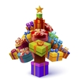Christmas Tree Of Gift Boxes Composition vector image vector image