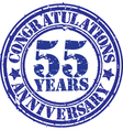 Congratulations 55 years anniversary grunge rubber vector image vector image