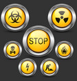 danger and caution street sign set of round metal vector image vector image