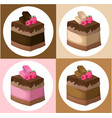 delicious chocolate cake collection vector image vector image