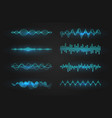 equalizer waves on black background realistic set vector image