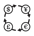Finance currency exchange icon set Yuan dollar