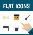 flat icon farm set of barbecue stabling shovel vector image