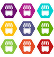 food trolley with awning icon set color hexahedron vector image vector image