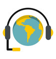 globe with headset icon isolated vector image vector image
