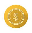 gold dollar coin flat linear long shadow icon vector image