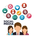 group persons social media isolated icon design vector image vector image