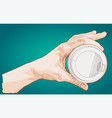 hand holding paper cup of coffee vector image vector image