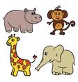 hippo monkey giraffe elephant vector image vector image