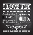 Love You In Seven Languages on chalkboard vector image vector image