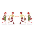 male and female clerk running vector image vector image
