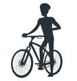male in protective helmet standing near sport bike vector image vector image