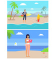 man and woman freelancer standing on beach vector image vector image