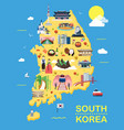 map of korea attractions and vector image
