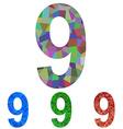 Mosaic font design set - number 9 vector image vector image