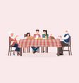 multi generation family sitting at table having vector image