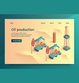 oil production isometric lettering vector image vector image
