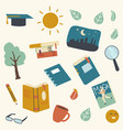 outdoor reading set book notebook and textbook vector image