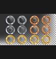 portholes set round metal window with vector image
