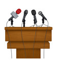 press conference stage meeting news media vector image vector image