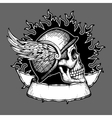 Retro motorcycle t shirt design biker skull vector image
