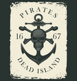 retro pirate banner with skull bones and anchor vector image vector image