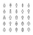 robots outline icons vector image