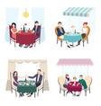 romantic couple dinner in cafe restaurant set vector image