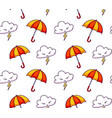 seamless pattern with clouds lightning umbrellas vector image