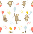 seamless pattern with cute sloths and air balloons vector image vector image
