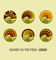 set logo sun landscape vector image