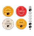 set template labels for cheese and icons vector image vector image