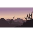 Silhouette of two brachiosaurus in fields vector image