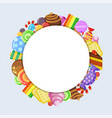 sweets circle shape candies lollipop jelly and vector image
